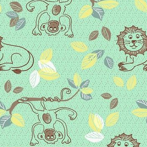 safari - monkey and lion green
