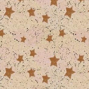 Rusty Orange Stars on Textured Cream Ceramic