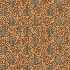 Wild West- Saguaro Tooled Leather Pattern- Verdigris Wheat Brown Leather Texture- Small Scale