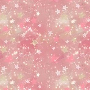 Cream Stars on Pink Abstract