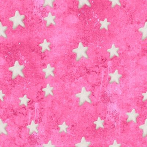 Creamy White Stars on Painted Hot Pink Drippy Background
