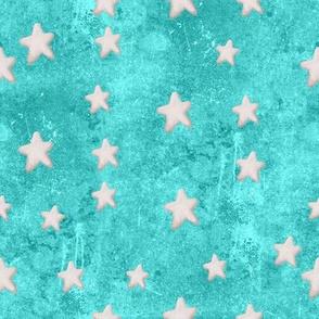 Creamy Stars on Teal Blue Painted Sky