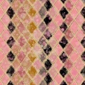 Harlequin Pinks Creams Black