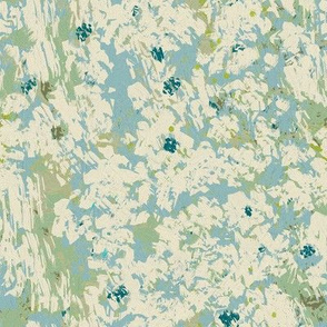 Blue Cream and Green Floral Abstract