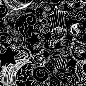 Black and White Star Paisley Doodles