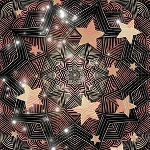 Peach Cream Stars on Black Line Art Mandala
