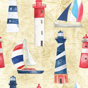 Watercolor Lighthouses and Sailboats