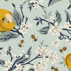 Bees And Lemons - Mint - Jumbo - ROTATED