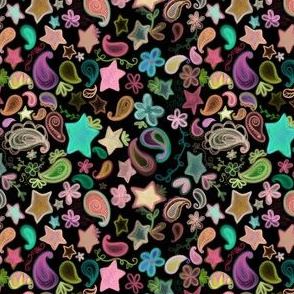 Colorful Paisley and Stars on Black