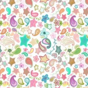 Colorful Paisley and Stars on White