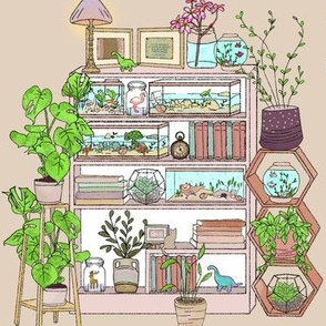 Plant Lady Shelf Monstera Fern Terrariums and Fish Tanks