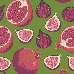 Pomegranates and figs color way 1