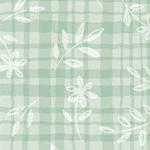 Simple Life // Botanical Doodles, Gingham, Stripes, Flowers, and Leaves //Green color palette by Angelica Venegas