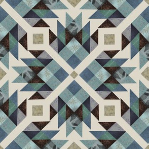 Log cabin quilt blue