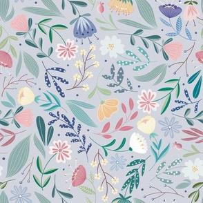 Flower Field // Balcony , Balcony Flowers, Folk Art // Lilac Color by Angelica Venegas