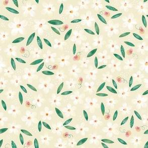 Daisy Flowers and Peaches  // Spring , Girl´s Fabric, Nursery Walpaper // Cream, Peach, and Green