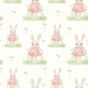 Sweet Bunnies in the Garden // Delicate Nursery Collection, Flowers and cute bunnies // Rose, Cream, and Green color palette.