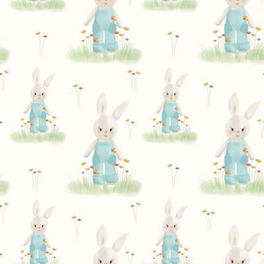Sweet Bunnies in the Garden // Delicate Nursery Collection, Flowers and cute bunnies // Blue, Cream, and Green color palette.