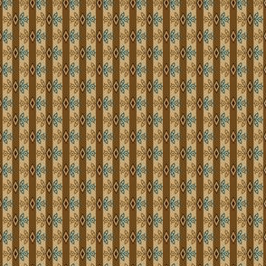 diamond flower stripe brown and teal 2067-25