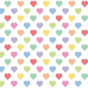 Pixelated multicolored hearts