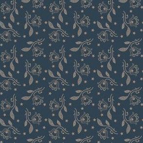 flowers and stars slate blue 2068-65