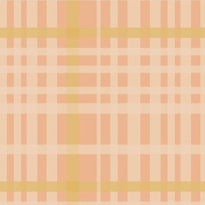 Cream & mustard plaid on pink
