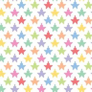 Pixelated multicolored stars