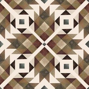 Log cabin quilt brown