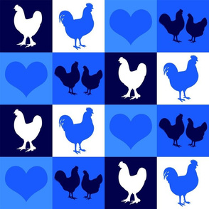 Chickens and Hearts Blue and White Country Style