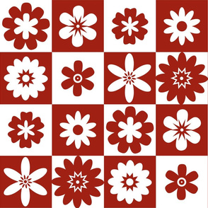 Red and White Floral Check