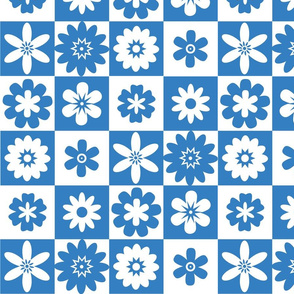 Blue and White American Country Floral