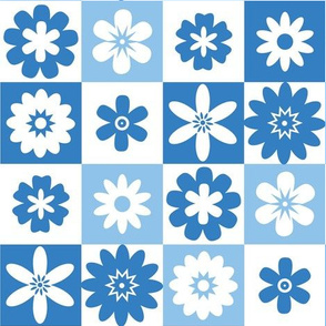 Shades of Blue and White Summer Floral Small