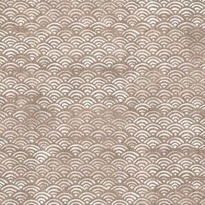Block Printed Waves in Cacao   Seigaiha fabric, Japanese block print pattern of ocean waves, surf fabric, warm cocoa boho print for coastal decor, seaside, beach.