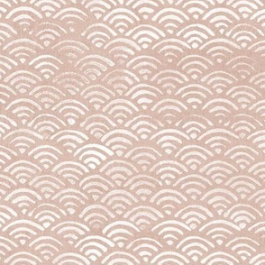 Block Printed Waves in Seashell (xl scale)   Seigaiha fabric, pink beige, Japanese block print pattern of ocean waves, shell boho print in neutral pink for coastal decor, beach accessories.