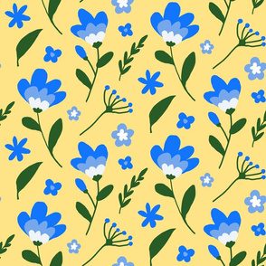 Blue and Yellow Country Floral