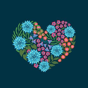Flowered Heart Embroidery Template in Bright Colors on Dark Blue - UnBlink Studio by Jackie Tahara