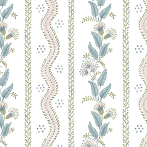 Pale pink_ Sage and blue on White