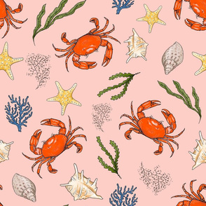 Medium Large - Crabs and Shells on Pink