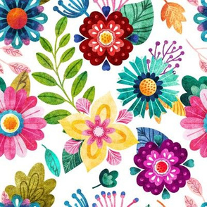 Bright Flowers on White