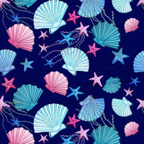 seashell and starfish pink and blue on classic blue