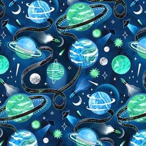 Highway to Intergalactic Adventures - Mint, Navy & Maya Blue - Medium Scale