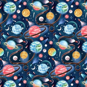 Highway to Intergalactic Adventures - Navy Blue, Pink & Yellow - Small Scale