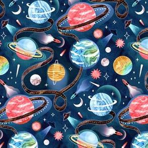 Highway to Intergalactic Adventures - Navy Blue, Pink & Yellow - Medium Scale