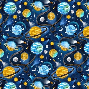 Highway to Intergalactic Adventures - Navy Blue & Mustard Yellow - Small Scale