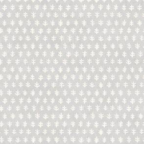 Leaf Block Print in Cream on Gray (xl scale)   Hand block print motif on light gray, neutrals, calm decor, neutral fabric.