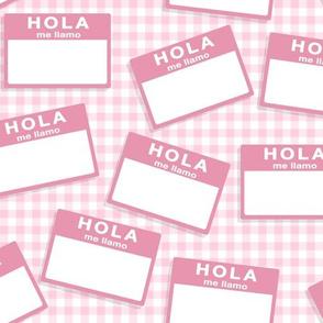 insignia hola me llamo - rosa bebé