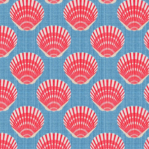 Scallop Shell Coral on Medium Blue Linen 2