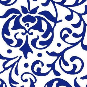 Dark Blue Tudor Rose Damask