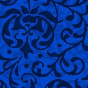 Royal Blue Tudor Damask