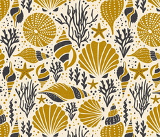 Washed Ashore - Nautical Seashells - Ivory Gold Large Scale
